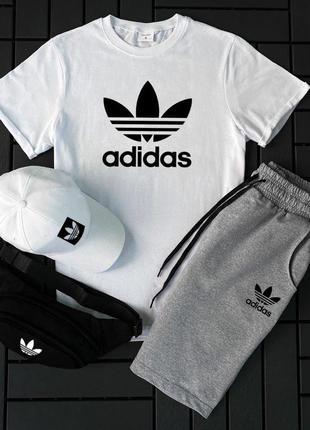 Летний спортивный костюм футболка и шорты adidas белая серые