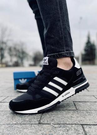 Легкие спортивные кроссовки кеды adidas zx 750 черные замшевые...