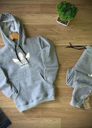 Легкий весенний спортивный костюм комплект adidas серый худи с...