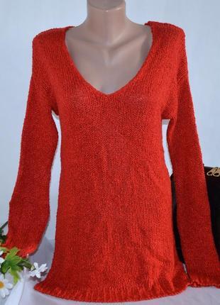 Брендовая красная теплая кофта свитер с разрезами по бокам nex...