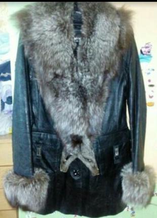 Пальто,трансформер 42_44р.натуральная кожа,мех чернобурка