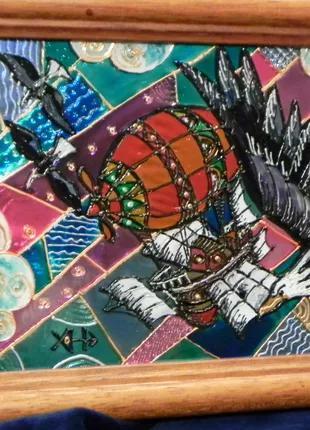 Витражная картина «Вместе с орлами»