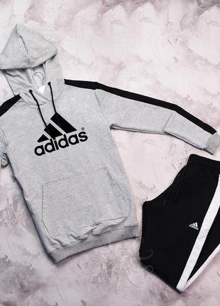 Легкий весенний спортивный костюм комплект adidas серый с капю...