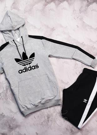 Весенний спортивный костюм комплект adidas серый с капюшоном л...
