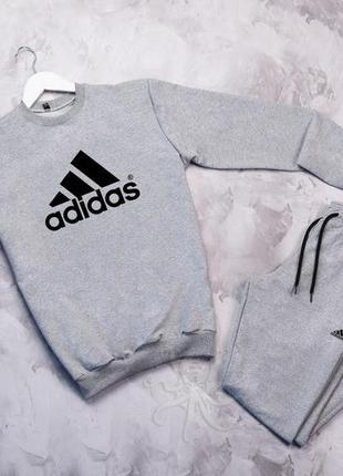 Стильный спортивный костюм комплект серый adidas на манжете сп...