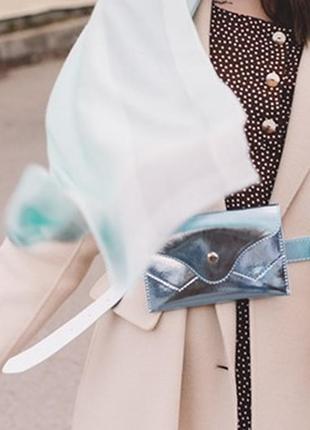 Цвета в наличии перламутровая серебристая сумка на пояс поясна...