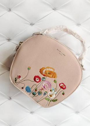 Пудровая сумочка с вышивкой david jones круглый клатч сумка