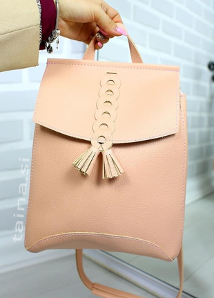 3 цвета! сумка рюкзак с косичкой розовый пудра рюкзачок повсед...