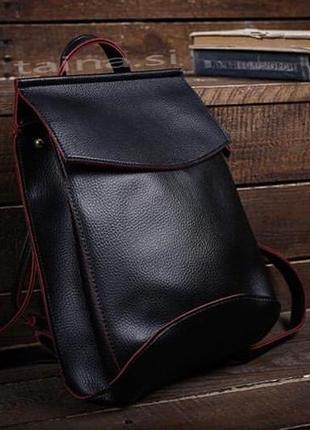 10 цветок! сумка рюкзак черный с красным классический рюкзачок...