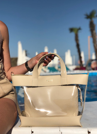 7 цветов! сумка 2в1 с косметичкой прозрачная летняя сумочка бе...
