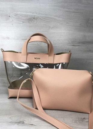 7 цветов! сумка 2в1 с косметичкой прозрачная летняя сумочка ро...