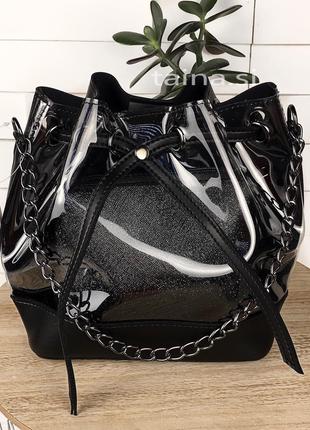 3 цвета! 2в1 сумка мешок прозрачная черная шопер с косметичкой...