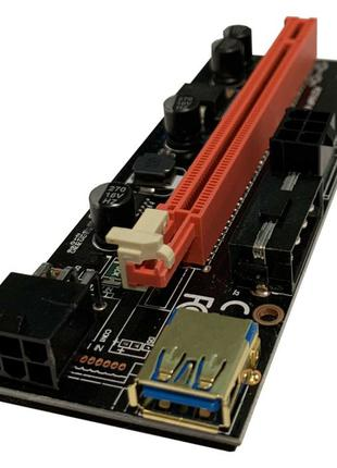 Райзер Riser 1x to 16x PCI-E USB3.0 ver 009S 6 pin \ molex Ест...