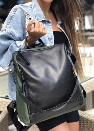 3 цвета! хакки зеленый кожаный сумка рюкзак а4 повседневный