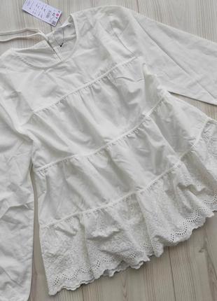 Блуза белая ярусная babydoll reserved, блузка біла як zara