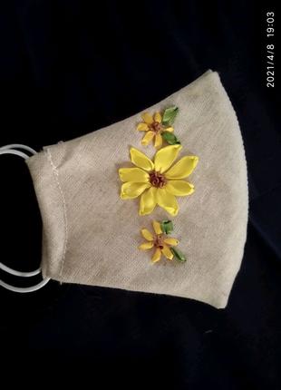 Багаторазова маска, тканина льон, вишивка стрічками.