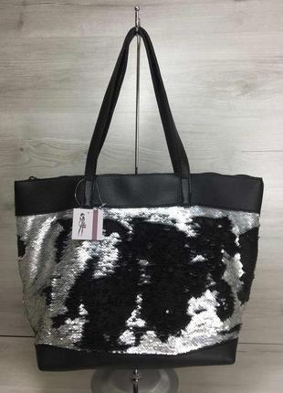 3 цвета черная сумка с серебром пайетки пляжная вместительный ...