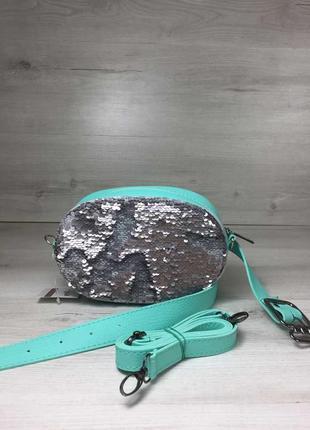 Серебристая поясная сумка 2в1 с пайетками сумочка на пояс клат...