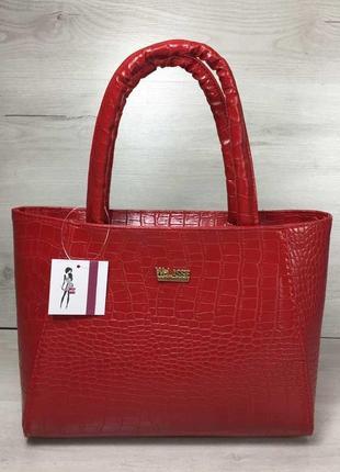 4 цвета! классическая сумка красный крокодил рептилия два отде...