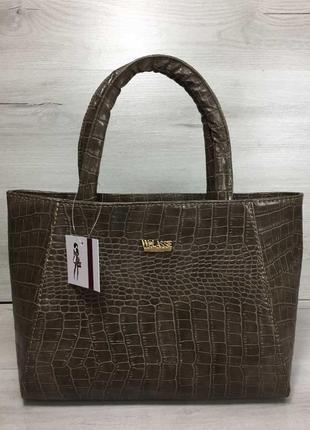 4 цвета! классическая сумка кофейный коричневый крокодил репти...