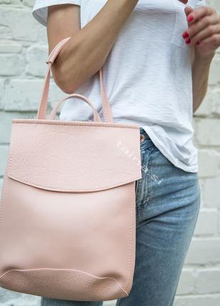 10 цветок! сумка рюкзак розовый крокодил питон классический го...