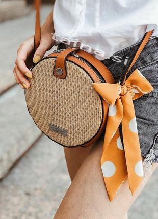 Соломенная сумочка плетеный клатч сумка круглая коричневая рот...