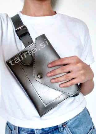 4 цвета! сумка на пояс металлик серебро поясная сумочка клатч ...