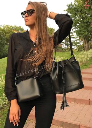 6 цветов! сумка 2в1 мешок повседневная черная шопер с косметич...