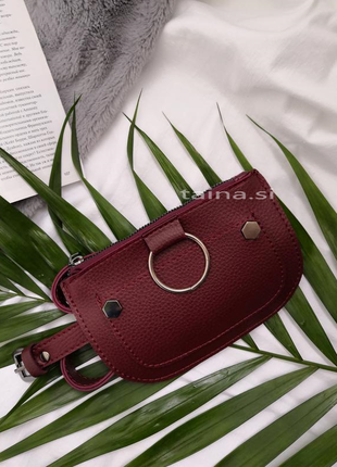 Поясная сумка бордовая сумочка на пояс клатч бананка с кольцом