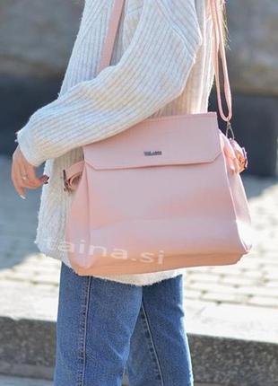 9 цветов! сумка на плечо розовая пудра три отделения повседнев...