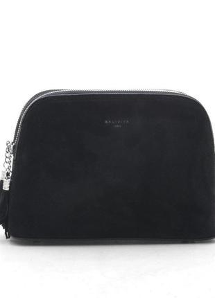 Клатч 19150-1 черный замшевый кросс боди сумка на плечо