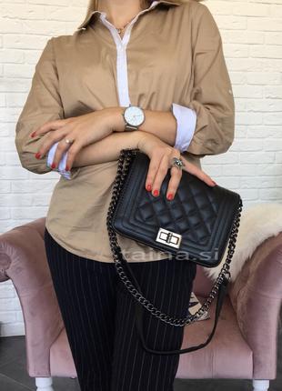 Черный клатч стеганый сумка сумочка на цепочке стеганая