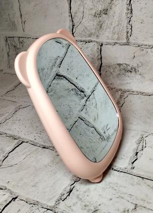 Зеркало настольное с ушками, розовое