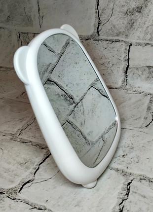 Зеркало настольное с ушками, белое