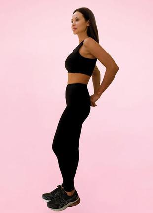 Спортивный комплект для фитнеса черный, короткий рукав топа