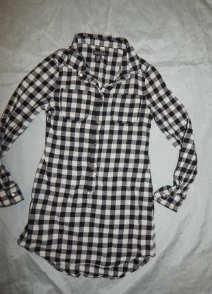 Платье рубашка модное в клетку на девочку 9-10 лет 140см