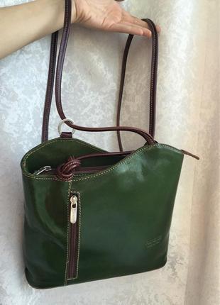 Кожаный рюкзак зеленый, оригинальная сумка рюкзак италия florence