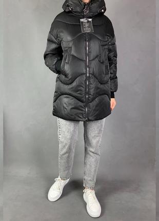 Объёмный пуховик куртка оверсайз зефирка био пух