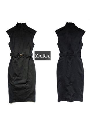 Чёрное платье футляр с поясом без рукавов под горло от zara