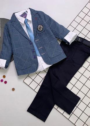 Костюм для джентелмена 5ка (пиджак++рубашка+брюки+галстук+ремень)