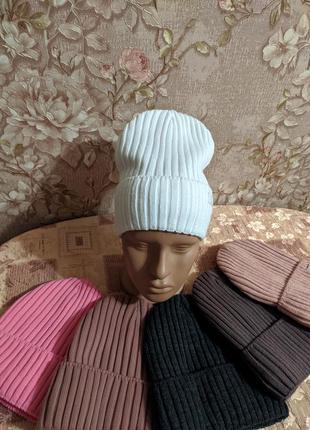 Вязаная модная шапка на флисе, 50-56рр, белая