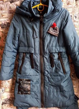 Зимняя куртка на девочку внутри утеплитель мех