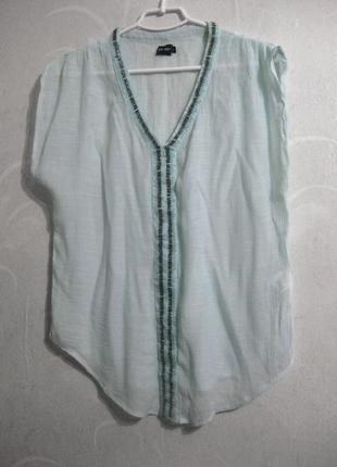 Блуза ze ze рубашка голубая белая без рукавов аппликация бисер...