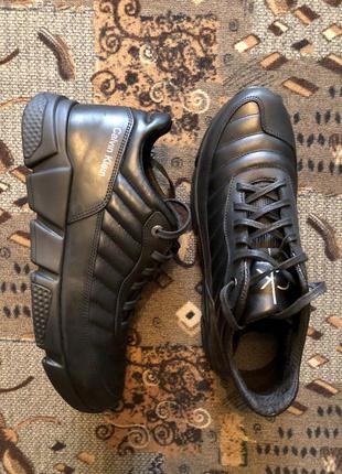 Кроссовки мужские кожаные чёрные