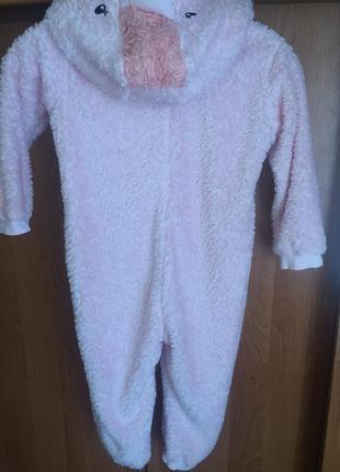 Пижама, человечек, кигуруми, слип, розовый фламинго,  lupilu.