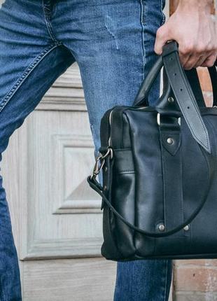 Кожаная мужская сумка, черный портфель для документов