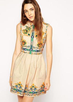 Платье мини  с вышивкой в этно бохо стиле  asos