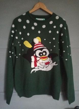 Новогодний свитер. рождество. новый год . пингвин. фотосессия