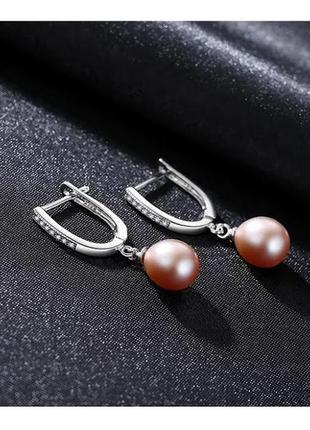 Серебряные серьги с натуральным лиловым жемчугом