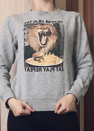Свитшот, свитер, кофта серого цвета от h&m